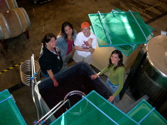 Evelyn Vidal and Courtney Kingston (center) with former interns Leslie Mead Renaud and Maruxa Roel in 2006