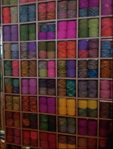 A wool stall at the Puerto Montt airport presents many colorful choices.
