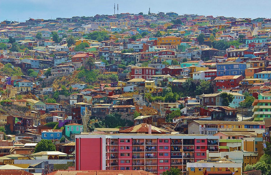 Colorful buildings on the hillsides of Valparaiso Chile