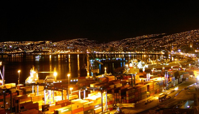 Valparaiso as seen by night from above the harbor