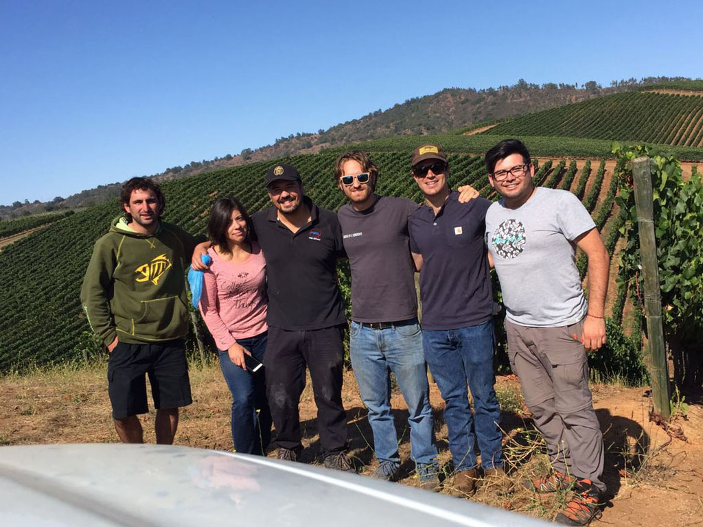 Winemaker Amael Orrego and the Kington Family Vineyards team in the vineyards