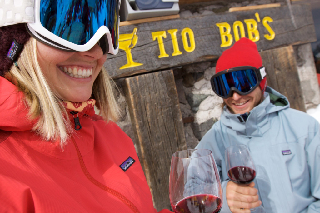 Sipping wine outside of Tio Bob's after a great day on the slopes. Photo courtesy of Ski Portillo.