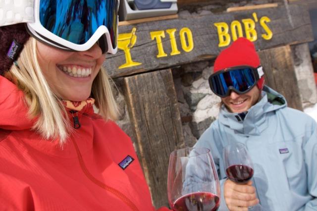 Wine tasting at Tio Bob's bar at Ski Portillo