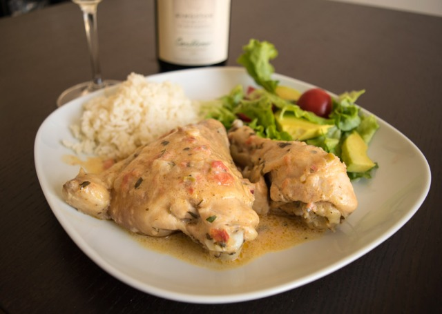 CJ Kingston's chicken recipe served with Cariblanco