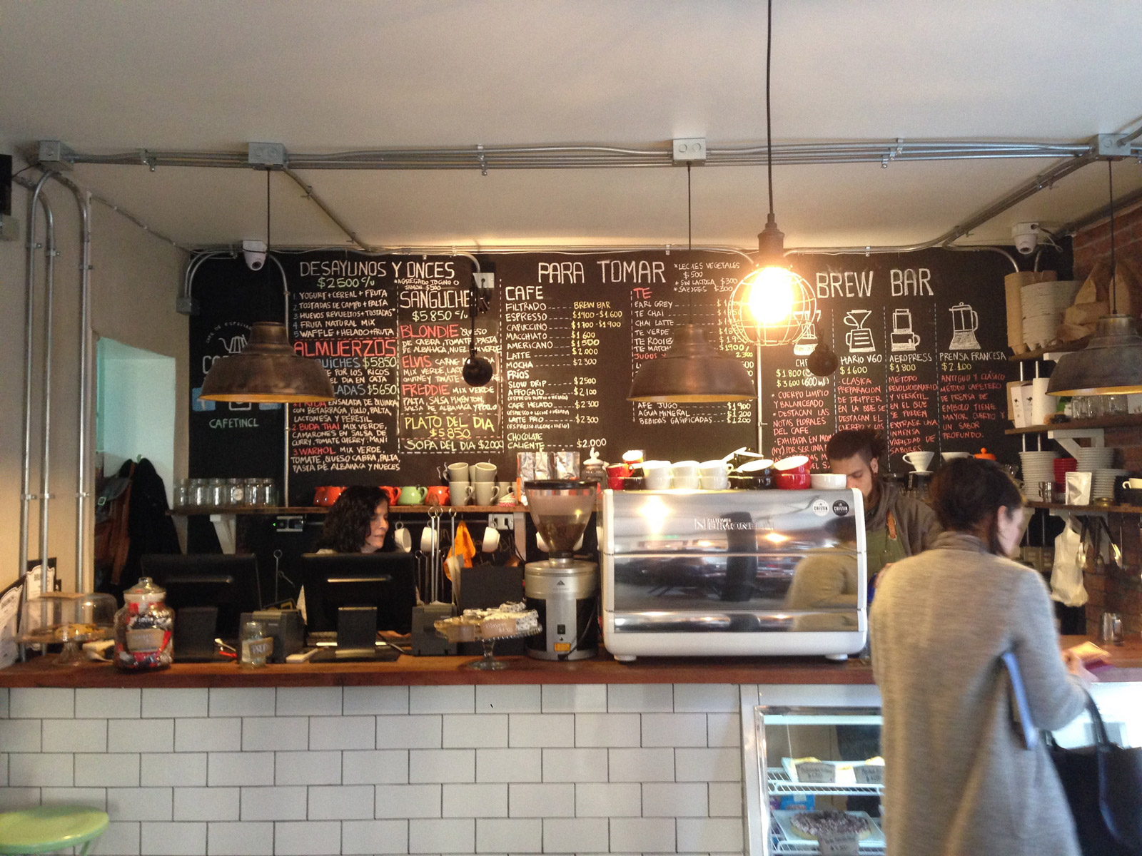 The menu at Cafetín, a great spot for coffee and artisan breakfasts.