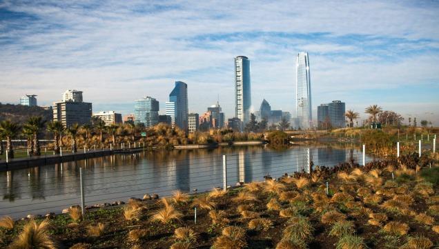 The skyline of Santiago Chile seen from Parque Bicentenario