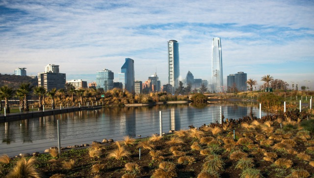 The skyline of Santiago Chile seen from Parque Bicentenario
